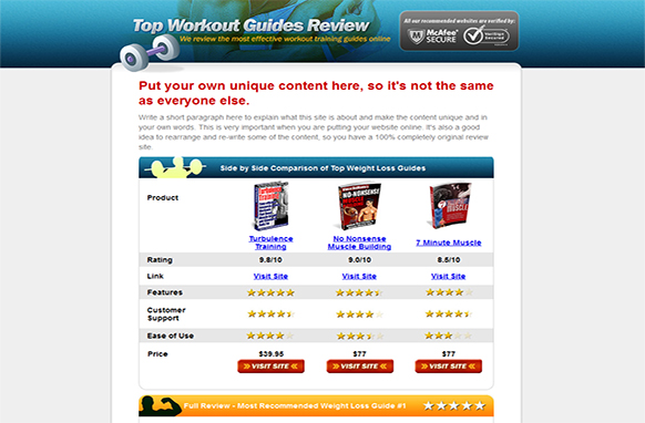 Fitness Review Site HTML Template – PLR Database