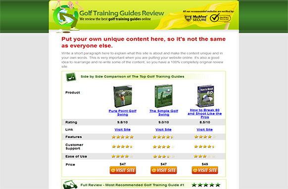 Golf Review Site HTML Template