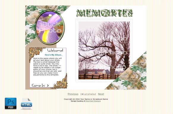 Floral Scrap HTML PSD Template