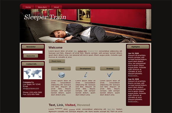 Sleeper Train Blogger WP HTML Templates