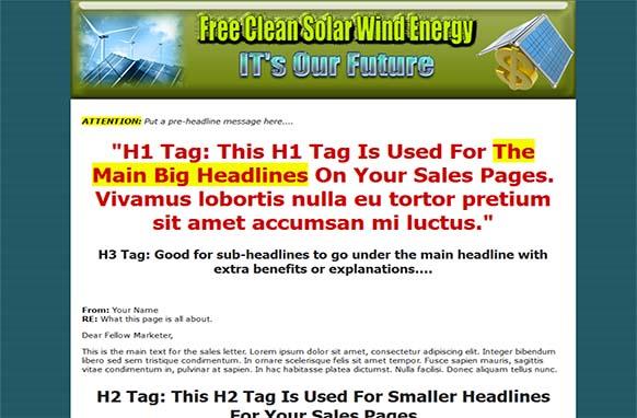 Solar Wind Energy HTML PSD Site