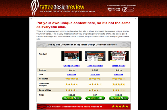Tattoo Review Site HTML Template