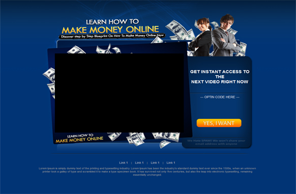 Making Money Online HTML PSD Video Squeeze Page
