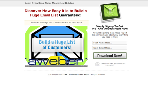 Master List Building HTML Video Squeeze Page