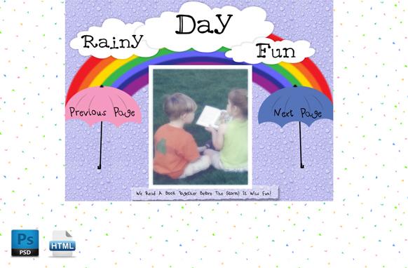 Rainy Day Fun HTML PSD Template