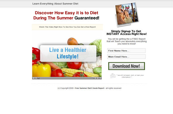 Summmer Diet Programs HTML Video Squeeze Page