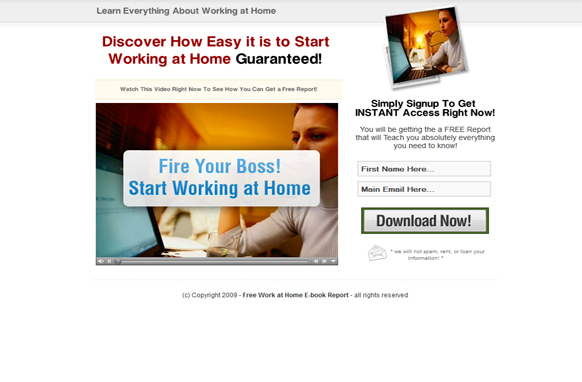 Work at Home Today HTML Video Squeeze Page