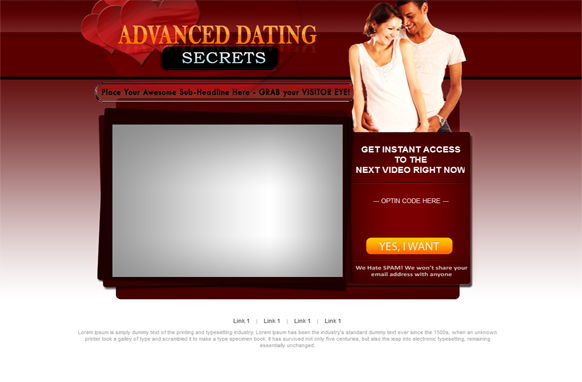 Advance Dating HTML PSD Video Squeeze Page