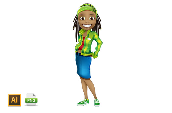 Afro American Girl Vector Character
