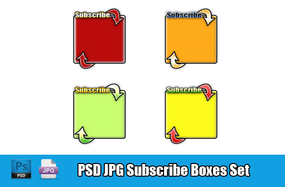 PSD JPG Subscribe Boxes Set