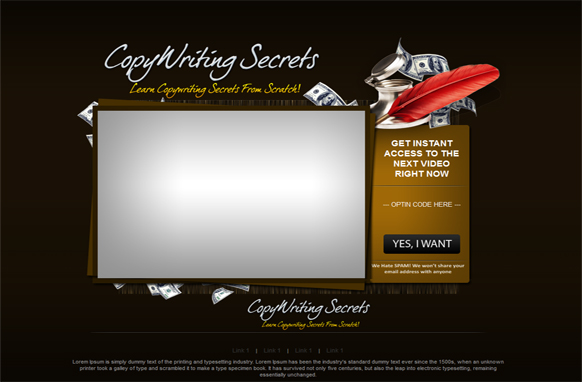 Copywriting HTML PSD Video Squeeze Page