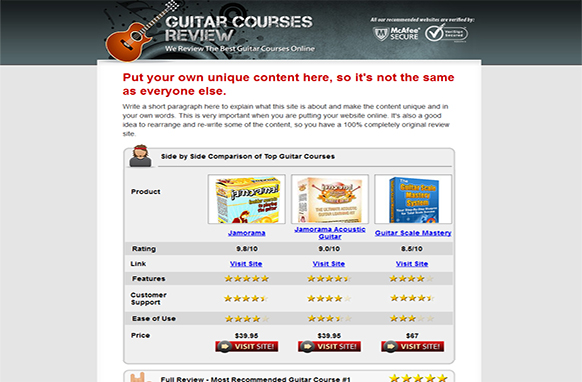 Guitar Review Site Html Template Plr Database