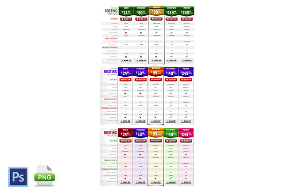 3 Style Of PSD PNG Pricing Tables