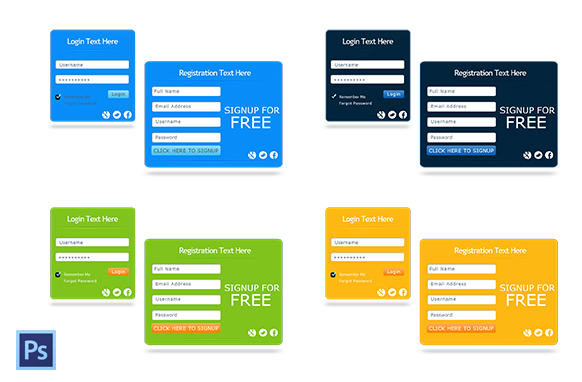 4 Styled Optin PSD Forms