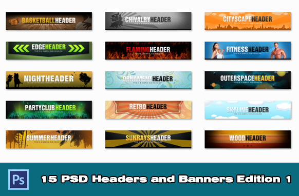 15 PSD Headers and Banners Edition 1