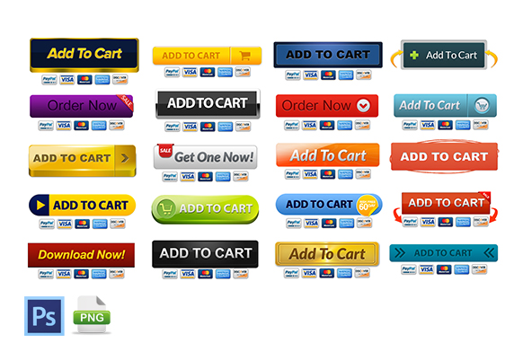 20 Style PSD PNG Add To Cart Buttons