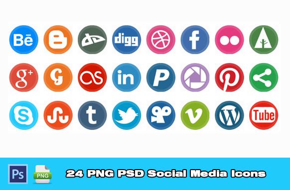 24 PNG PSD Social Media Icons