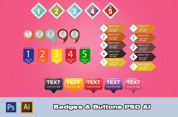 Badges and Buttons PSD AI