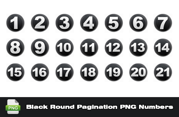 Black Round Pagination PNG Numbers