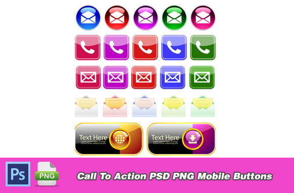 Call To Action PSD PNG Mobile Buttons