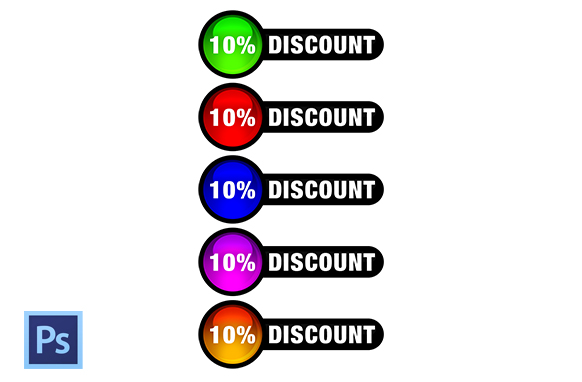 Circle Discount PSD Buttons