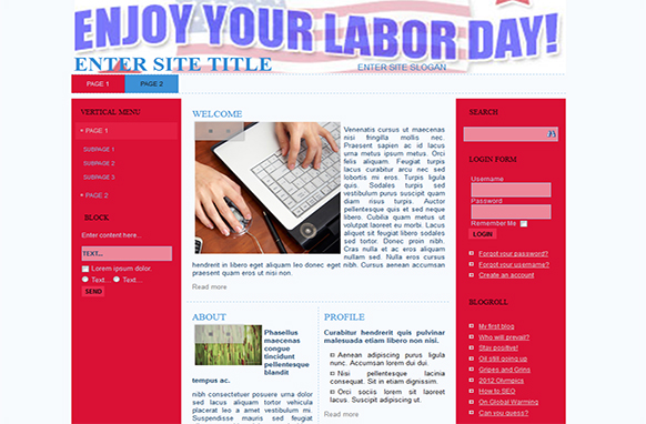 Labor Day HTML Template and WP Theme
