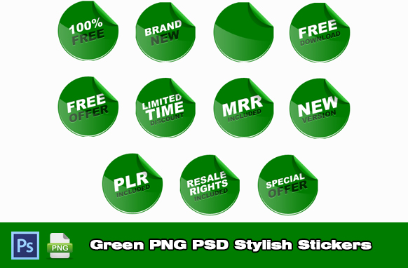 Green PNG PSD Stylish Stickers