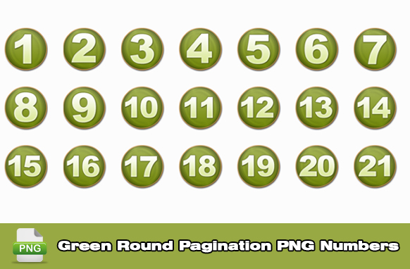 Green Round Pagination PNG Numbers