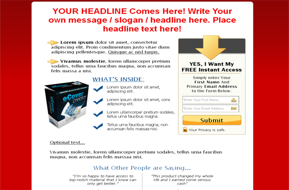 Minisite Squeeze Page HTML Template Red