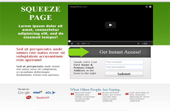 Modern Video Squeeze Page HTML Template Green