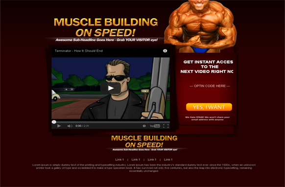 Muscle Building Wordpress Video Squeeze Page