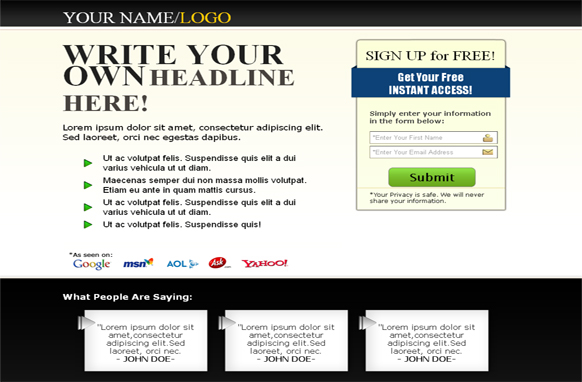 Squeeze Page HTML Template Black