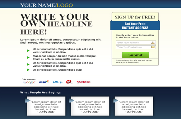 Squeeze Page HTML Template Blue