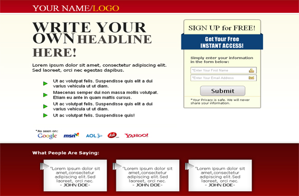Squeeze Page HTML Template Red