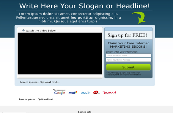 Video Squeeze Page HTML Template Blue