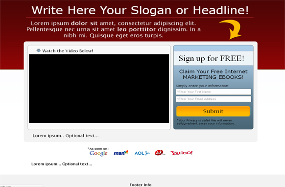 Video Squeeze Page HTML Template Red