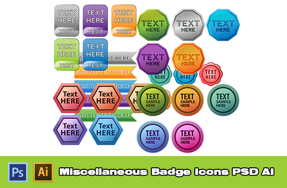 Miscellaneous Badge Icons PSD AI