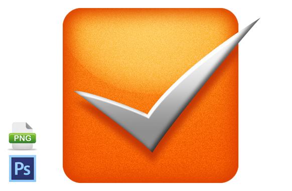 Orange Checkbox PSD PNG Image