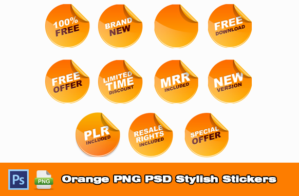 Orange PNG PSD Stylish Stickers