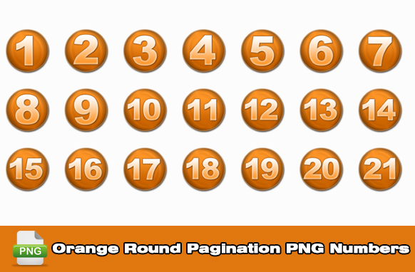 Orange Round Pagination PNG Numbers