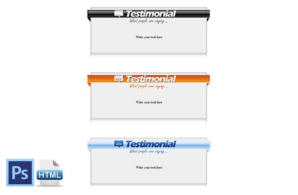HTML PSD Testimonial Boxes Style 2