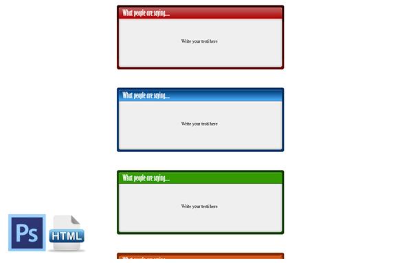 HTML PSD Testimonial Boxes Style 3