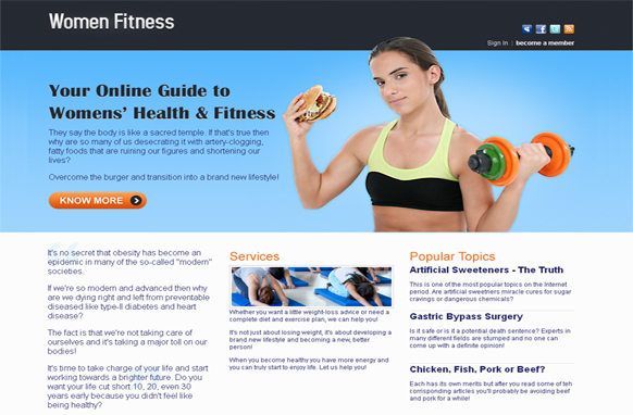Women Fitness HTML and PSD Template