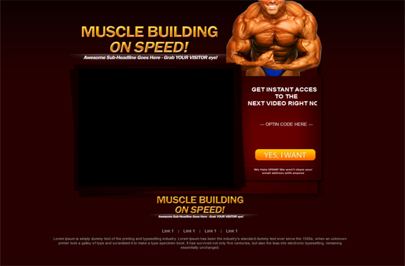 Muscle Building HTML PSD Video Squeeze Page