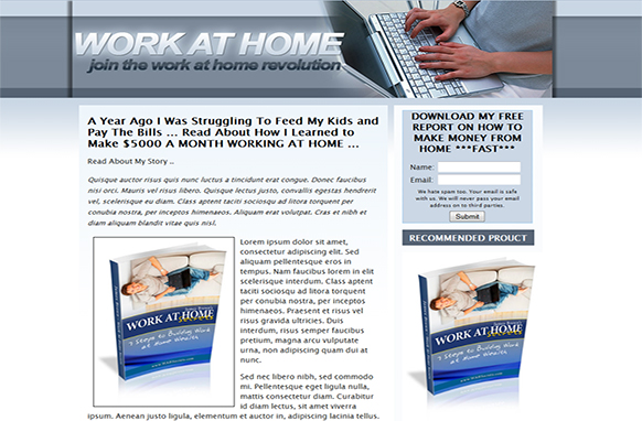 Work At Home Landing Page HTML Template – PLR Database