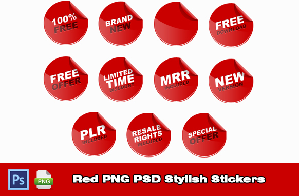 Red PNG PSD Stylish Stickers