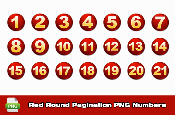Red Round Pagination PNG Numbers