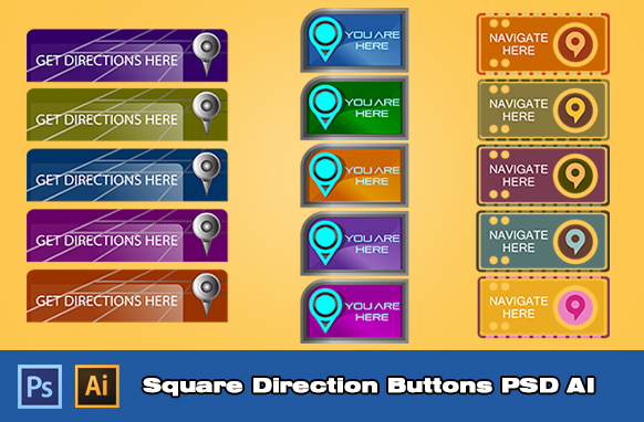 Square Direction Buttons PSD AI