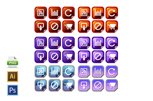 Square Folded Icons PSD PNG AI
