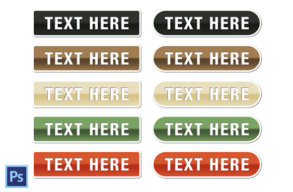 White Border Buttons PSD